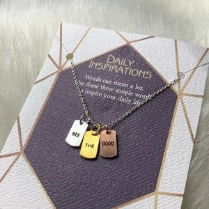 """See the Good"" Mixed Metals Necklace Silver Gold"
